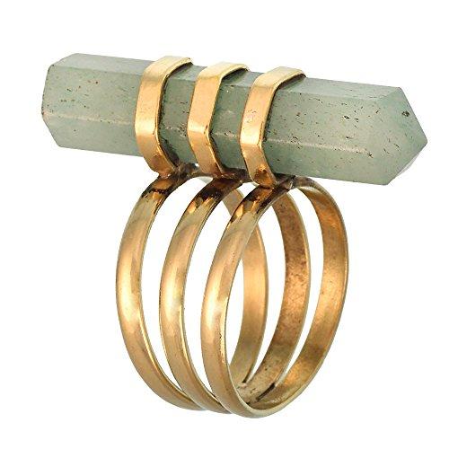 Anello in ottone dorato con pietre in giada verde Penna a liscio e levigato in stile antico, Ottone, 13, cod. RB-193-53 (16.9)