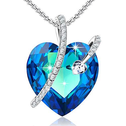 DEQIAODE Liebes-Anhänger-Halskette aus blauem Herzen mit Swarovski-Element-Kristallen aus unserer Kollektion for Her zum perfekten Geburtstags- oder Muttertagsgeschenk