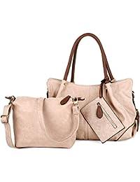 3427ae2861b90 UTO Damen Handtasche Set 3 Stücke Tasche PU Leder Shopper klein  Schultertasche Geldbörse Trageband