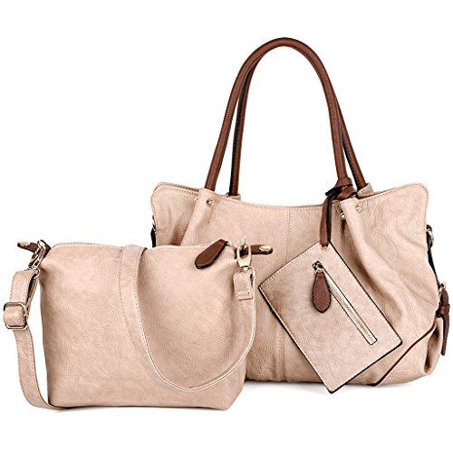 UTO Damen Handtasche Set 3 Stücke Tasche PU Leder Shopper klein Schultertasche Geldbörse Trageband Apricot
