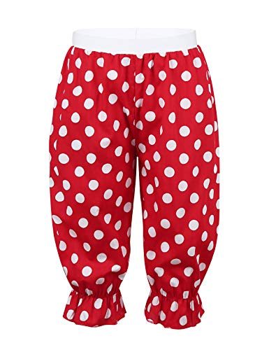 Kostüm Polka Kinder Dot - inlzdz Kinder Mädchen Haremshose Polka Dot Bloomer Hosen Clown Kostüm Outfit Lange Pumphose Pluderhosen für Halloween Party Karneval Fasching Rot 98-104
