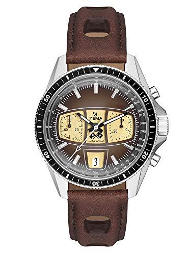 Yema RallyGRAF Heritage Herren-Armbanduhr Tachymetrisch – Uhrwerk ETA Valjoux 7753 – gewölbtes Glas – Armband aus echtem Leder – YRAL2018-UUS