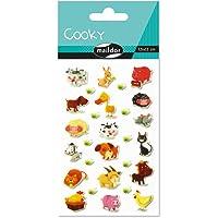 Maildor 560352C - Un sachet de gommettes 3D Cooky 1 planche 7,5x12cm, Animaux de la ferme (28 stickers)