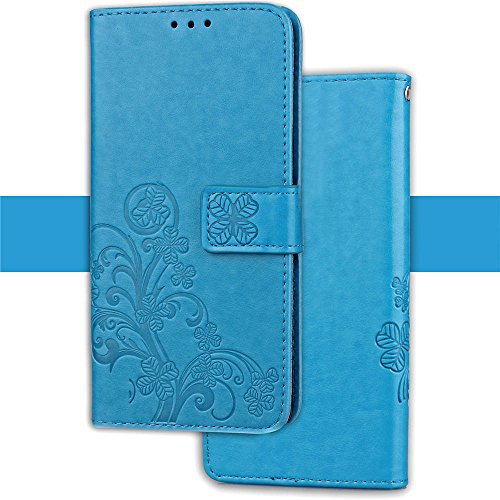 HUDDU Hülle for Nokia 2.1 2018 Blau Schutzhülle Lederhülle Stand Klapphülle Wallet Flip Case Handyhülle Ledertasche Blume Muster PU Leder Tasche Magnetverschluss + Stylus Stift - Blau