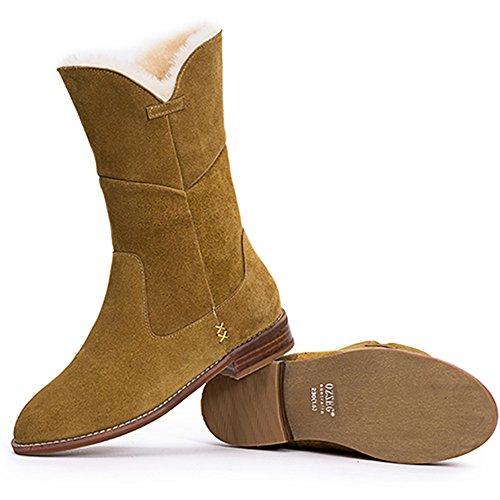 OZZEG Talons bas bottes fourrure doublure chaussures hiver chaud de la femme, bottes en cuir Brun