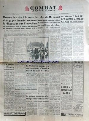 COMBAT [No 3059] du 05/05/1954 - MENACE DE CRISE A...