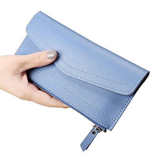 Lungo Portafoglio Grande Capacità Portamoneta Porta Carta Con La Chiusura Lampo Pocket Blu Blu