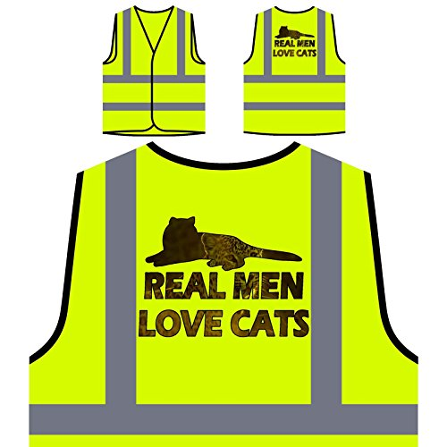 Echte Männer Lieben Katzen Personalisierte High Visibility Gelbe Sicherheitsjacke Weste r899v (Männer Echte Lieben Katzen)