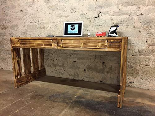 """Schreibtisch """"Perugia"""" Palettenmöbel mit Schubladen abgeflammt und geölt im Europaletten Stil"""