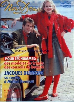 NOUS DEUX [No 1970] du 03/04/1985 - pour les hommes - des modeles de tricots , des conseils de beaute jacques dutronc se confie a michel denisot