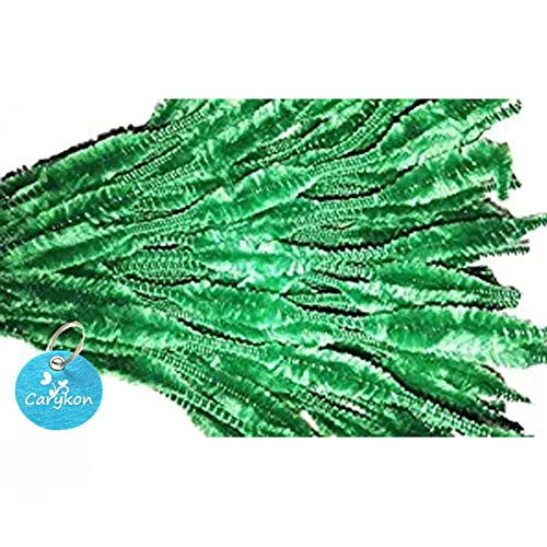 Caryko Fuzzy Bump Chenille Stems Pipe Cleaners, Pack of 100 (Green) -
