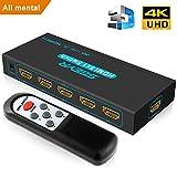 HDMI Switch 4K SGEYR 5x1 Porte Interruttore HDMI 5 Ingressi 1 Uscita Commutatore HDMI con Telecomando Supporto 4K@30Hz UHD 3D 1080P per HDTV PS3/4/Xbox/TV Box/Display/Proiettore