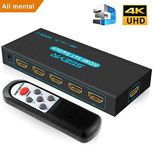 4K HDMI Switch SGEYR 5x1 Port HDMI Switch 5 in 1 HDMI Umschalter Ultra HD HDMI Switcher mit IR Fernbedienung Unterstützung 4K 30Hz 2K 3D 1080P für PS4 Xbox HDTV DVD HDMI 1.4 1080p-hdtv-dvd