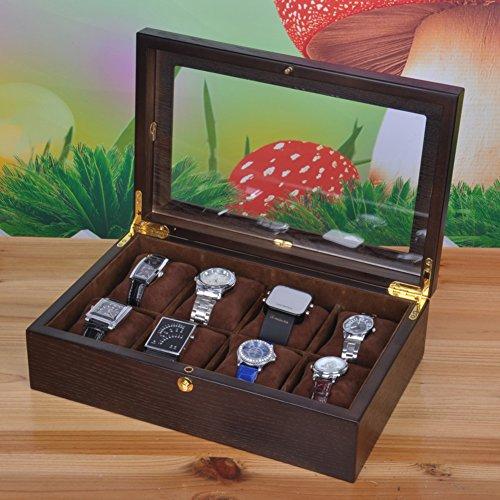 contenitore di orologio di legno pelle/12Solo otto a tinta legno qualità orologi collezione box/scatola di immagazzinaggio/ display/ tavolo-C