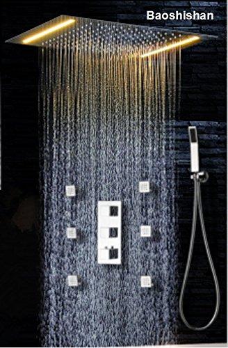 3Wege Temperatur Thermostat-Mischarmatur für Badezimmer Deckenleuchte Regendusche Set mit 2Leuchten mit Handbrause