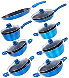 Nirlon Aluminium Cookware Set, 8-Pieces, Blue at amazon