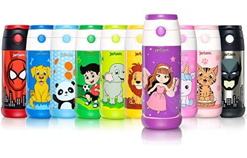 Jarlson Trinkflasche Kinder - Thermo Edelstahl Wasserflasche 350ml - BPA frei - auslaufsicher - Kinderflasche mit Strohhalm - Flasche für Schule, Sport, Kindergarten (Fee, 350 ml)