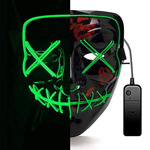 AUGOLA Halloween Led Máscaras, Purga Mascara Led Mask 3 Modos de Iluminacion para Halloween Navidad Cosplay Grimace Festival Fiesta (Verde)