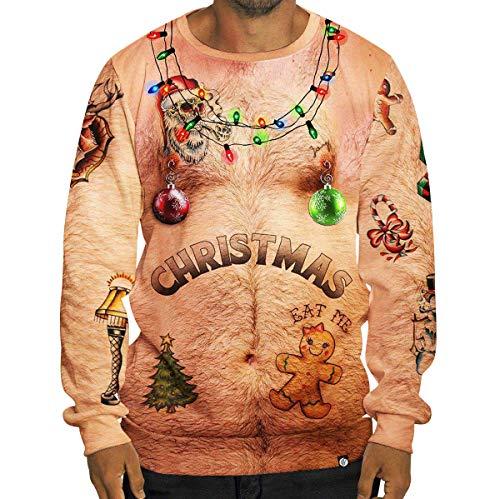 Pull de Noel Homme Sweat Shirt Moche Pulls de Noël Lumineux Drole Sweat Col Rond sans Capuche Kitsch Sweet Sweatshirt Renne Imprimé Pull Christmas Cerf Rigolo Kitch Oversize Stylé Sport Hiver