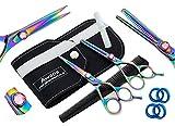 Awans Professional Hair Cutting & Effilierschere Set mit hochwertigem Edelstahl Sharp Razor Edge Feineinstellung Tension Screw Titan Friseur Salon Schere, Set Effilierschere 5,5 '