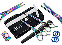 Awans Professional Hair Cutting & Effilierschere Set mit hochwertigem Edelstahl Sharp Razor Edge Feineinstellung Tension Screw Titan Friseur Salon Schere, Set Effilierschere 5,5 ""