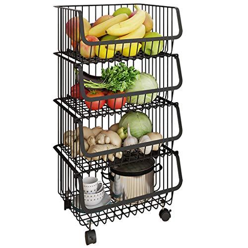 Shelf Metalldrahtkörbe Wagen, 4-stufiger stapelbarer Korborganisator Verstellbare Fußauflage Rollbares Servierwagengestell für Gemüse, Obst, Küchenvorratskammer - Edelstahl -