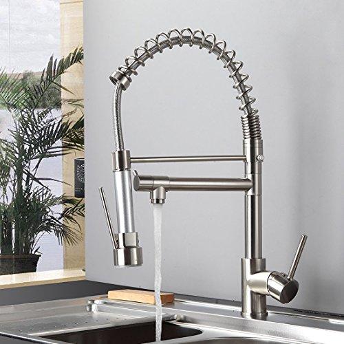 Gimili Spültischarmatur Spiralfeder Waschbecken Wasserhahn Küche Waschbeckenarmatur Mischbatterie Kuechenarmatur mit Brause Nickel Gebürstet