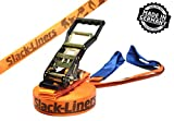 Slackline Classic Line ORANGE - 50mm breit, 25m lang - mit Langhebelratsche - Slack-Liners - Made in Germany