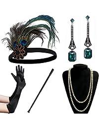 Coucoland 1920s Accessoires Set Damen Gatsby Kostüm Zubehör Set inklusive Stirnband Halskette Handschuhe Ohrringe Zigarettenhalter