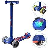 Banne Scooter, Altezza Regolabile Pieghevole Lean a Guidare Lampeggiante Ruote in PU 3 Wheel Kick Scooter per Bambini (Blu)