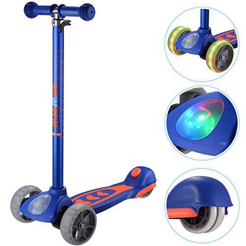 Banne Scooter, Altezza Regolabile Pieghevole Lean a Guidare Lampeggiante Ruote in PU 3 Wheel Kick Scooter per Bambini