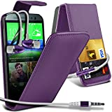 ( Purple ) HTC One M8 Premium Faux Kredit / Debit-Karten-Slot Leder Flip Case Hülle & LCD-Display Schutzfolie & Aluminium In-Ear-Ohrhörer Stereo-Ohrhörer mit Hands Free Mic & On-Off-Taste Einbau by Fone-Case