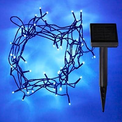 50er Solar Led Lichterkette Blau Dauerbetrieb Und Blinkend Mglich von Lights4fun