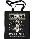 Jesus Is My Homie - Cooles Weihnachtsmotiv Jutebeutel Baumwolltasche One Size Schwarz
