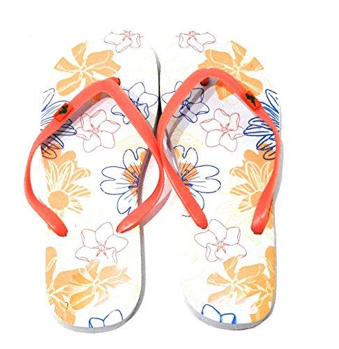 Femme Flip Flops Piscine et Plage Tongs Sandales Été, Couleurs Varièes Sole Multicolore, Ruban Orange