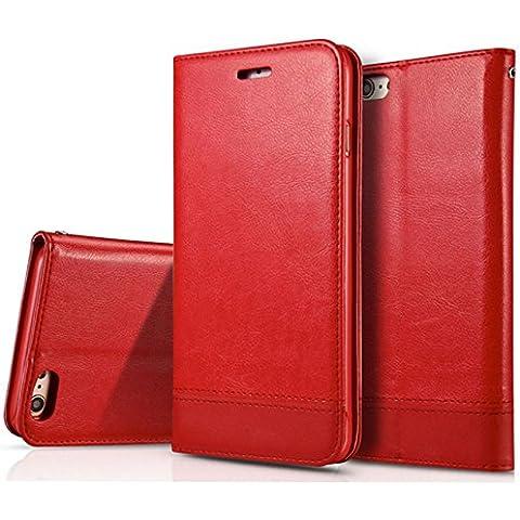 iPhone 7Plus caso, hualubro [Kickstand] [tutto intorno protezione] premio PU Pelle Flip Custodia Protettiva a Portafoglio con porta-carte per Apple Iphone 6PLUS 5.5inch 2016Smartphone, Pelle, Leather Wallet - Red, iPhone SE / 5S / 5