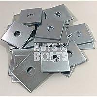 M12x 50x 50x 3Dick Quadratischer Teller Unterlegscheiben Zink versilbert, 50Stück