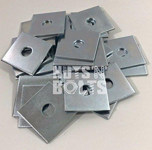 M10x 50x 50x 3Dick Quadratischer Teller Unterlegscheiben Zink versilbert, 20Stück