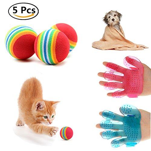 2 Pcs Pet Cat Combs Cleaning Massage Bath Fingers Glove Dog Crystal Bath Brush Pet Grooming Tool Wash Head Massage Brush - 3 Pcs Colorful Pet Dog Toy Ball Soft Foam Rainbow Ball Pet toys Small Cat Toys