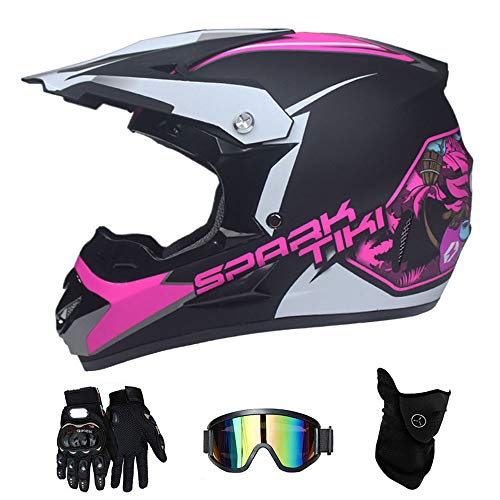 LTongx Adult Motocross Helmet MX Motorcycle Helm ATV Scooter ATV Helm D.O.T Certified Multicolor mit Goggles Gloves Mask (S, M, L, XL),Pink,M(54~55cm) -
