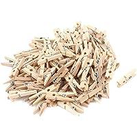 Sourcingmap(R) 100Stück Holz Farbe 25mm Mini Holz Wäscheklammer Foto Peg Kleider Pin Handwerk