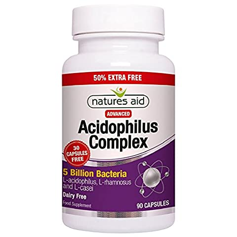 Natures Aid Advanced Acidophilus Complex 5 Billion 50% Extra Free 60 Caps + 30 Caps Free