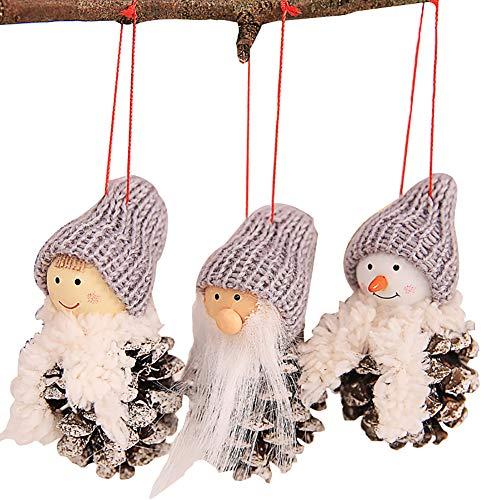 Tannenzapfen Puppe Weihnachtsbaum Hängende Ornamente Weihnachten Party Dekoration New Christmas Creative Old Man Puppe White Pinineal Puppe Anhänger 3-teilig 4# ()