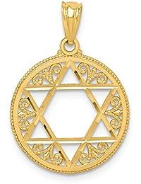14k Yellow Gold Filigree Jewish Jewelry Star Of David Pendant Charm Necklace Religious Judaica Fine Jewelry For Women Gift Set