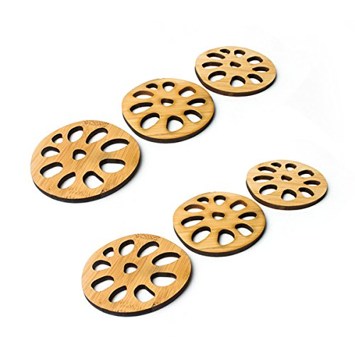 Wie Sie Lotus Notes Verwenden (Yardwe Untersetzer Tasse Matte Rustikale Vintage Untersetzer Bambus Tasse Pads Kaffee Trinken Teetasse Matte für Home Kitchen Cafe 6 STÜCKE (Lotus Wurzelform))