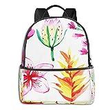 Schulrucksack Schultaschen Mädchen Teenager Rucksack Schultasche Schulrucksäcke wasserdichte Backpack für Damen Herren Geeignet 14 Zoll Notebook Tropische Sommerpflanzen