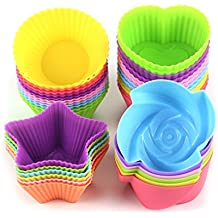 Kisspet 24-Pcs Silicone Cupcake moulds bakeware Muffin bread cake caes molds, Reusable Nonstick & Heat Resisitant baking cups Cupcake baking Liners cases, random colors