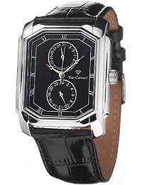Yves Camani Herrenuhr Quarz Edelstahlgehäuse Lederarmband Mineralglas GRANDIOSE  schwarz/schwarz YC1042-C