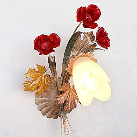 Wall lamp Bedroom living room hallway decoration pastoral American country retro fashion wall lighting aged iron rose flowers glass shape lamp
