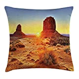 Canyon Throw Pillow Cushion Cover by, Monument Valley Tribal Park with Sunset and Big Carved Stone Ancient Lands Print, Decorative Square Accent Pillow Case, 18 X 18 Inches, Brown Blue